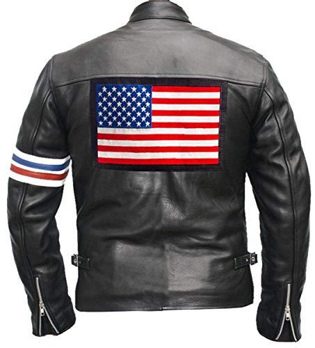 Easy Rider Peter Fonda American Flag Men Vintage Motorcycle Black Leather Jacket (L/Body Chest 42
