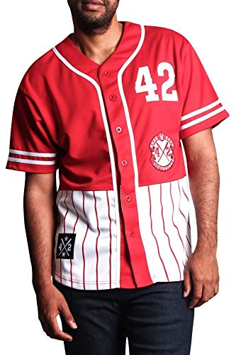 Victorious XXXX Pinstripe Block Baseball Jersey BJ37 - Red - Small - P1A
