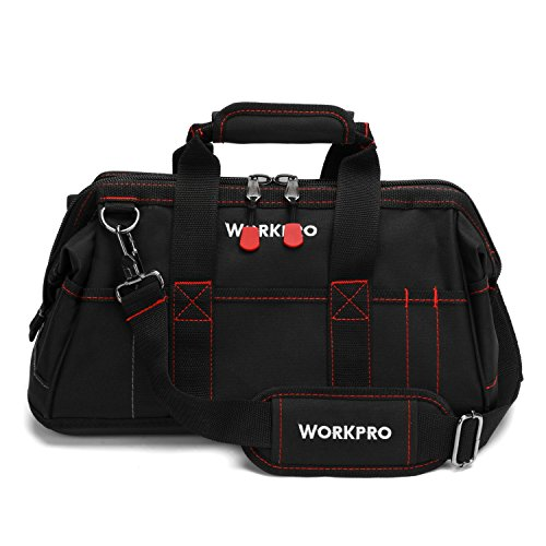 - WORKPRO W081022A 16-inch Close Top Wide Mouth Tool Storage Bag with Water Proof Rubber Base