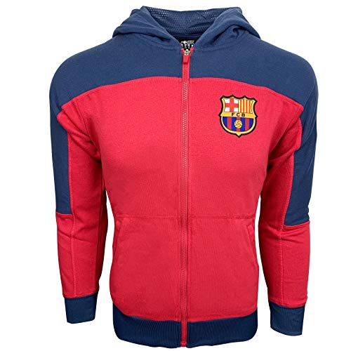 Barcelona Hoody - Fc Barcelona Hoodie, Kids and Adults Sizes, Official Barcelona Zip Front Fleece Sweatshirt Jacket (Youth Medium 7-9 Years) Maroon