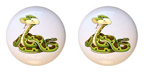 Jungle Drawer Pulls - SET OF 2 KNOBS - Snake from Baby Jungle Animals Collection - DECORATIVE Glossy CERAMIC Cupboard Cabinet PULLS Dresser Drawer KNOBS