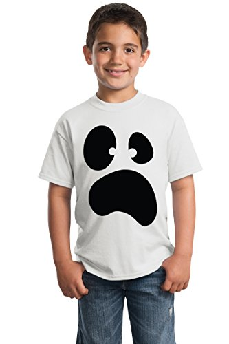 (Silly Ghost Face | Spooky Halloween Ghoul Face Easy Costume Youth T-Shirt-Youth,S)