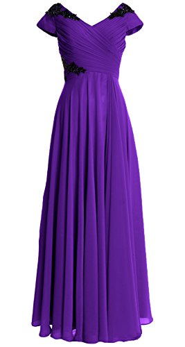 MACloth Women Cap Sleeve Long Mother of Bride Dress Wedding Party Formal Gown Morado