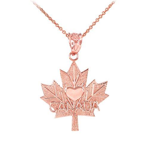 Collier Femme Pendentif 10 Ct Or Rose Feuille D'Érable Canada Cœur (Livré avec une 45cm Chaîne)