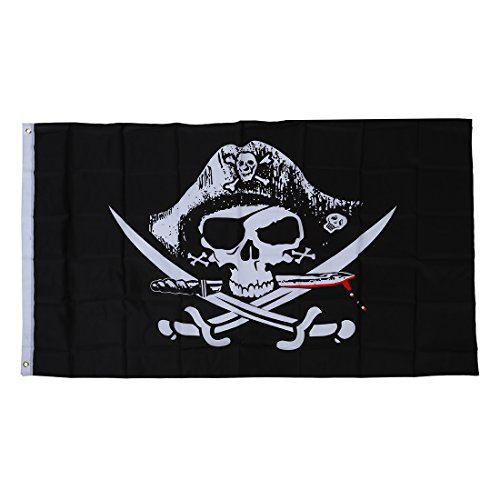 Pirate flags - TOOGOO(R)Pirate flags Caribbean skull head skull pirate skeleton sabre Jolly roger 150 x (Sabre Pirate)