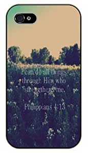 iPhone 4 / 4s Bible Verse - I can do all things through Him who strengthens me. Philippians 4:13 - black plastic case / Verses, Inspirational and Motivational