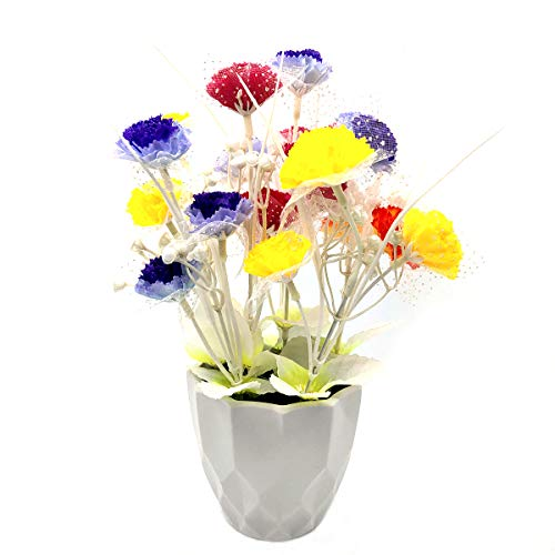UIKKOT Artificial Fake Flowers Silk Bouquet Carnation in Plastic Sturdy Vase with Stem Arrangement for Mother's Day Teachers' Day Home Decoration (Mixed Colors)