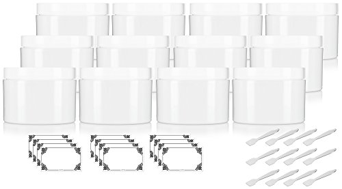 8 oz White Double Wall Plastic Jar with Airtight Lined Lid (Pack of 12) + Spatulas and Labels