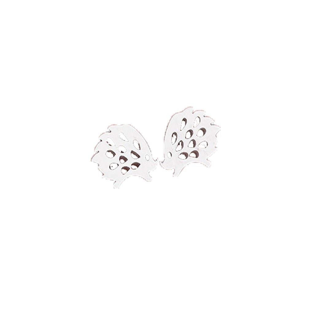 Myhouse Cute Hedgehog Openwork Earrings Mini Animal Serial Earrings for Women Girls, Silver Color