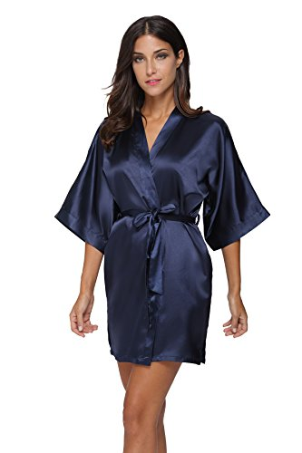 The Bund Women's Pure Colour Short Kimono Robes with Oblique V-Neck, Small, Dark Blue