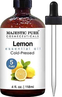 Majestic Pure Lemon Oil, Therapeutic Grade, Premium Quality Lemon Oil, 4 fl. oz by Majestic Pure