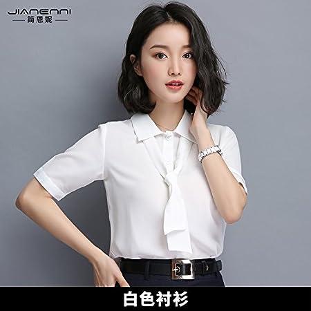 XXIN Camisas para Mujeres/De Manga Corta Blancas/Trajes De Negocios Trajes De Camisa De Chiffon / 3XL / Blanco: Amazon.es: Hogar