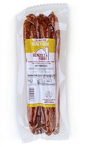 Wenzel's Farm Honey Ham Sticks - Gluten Free - No MSG - (1 LB Package)