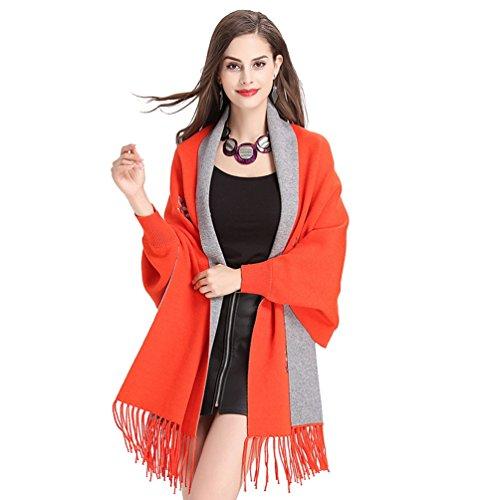 Creativo Abrigo De Naranja WanYang Chal Pañuelos Del Para Punto Cárdigan Mujer Suéter De Gris Bordados Mujeres vIIFfq