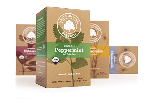 Hands on Herbs Organics Peppermint Tea | Refreshing Digestive Aid | Promotes Healthy Digestion and Improves Stomach Health | Natural Anti-nausea Organic Herbal Tea 25 individual tea bags (1 box)
