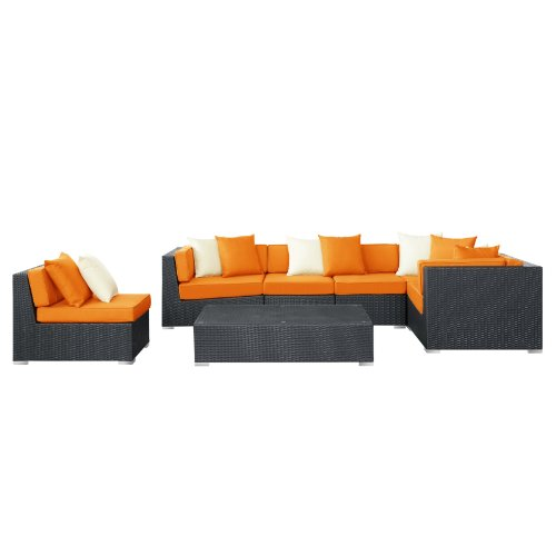 Modway Dreamscape Outdoor Wicker Patio 7-Piece Sectional Sofa Set, Expresso Orange
