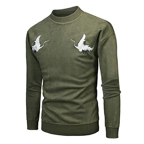 - Men Long Sleeve Embroidery Pullover Sweatshirt Top Tee Outwear Blouse