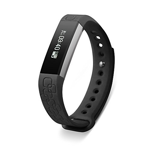 Keoker Micro-K Smart Wristband Fitness Tracker Bluetooth Heart Rate & Sleep Monitor Smart Bracelet Pedometer Sport Smartband for IOS Android (Black)