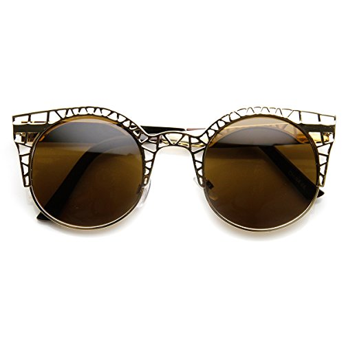 zeroUV - High Fashion Metal Cut Out Hollow Out Frame Round Cat Eye Sunglasses (Rose-Gold)
