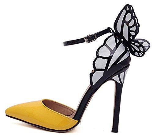 Easemax Femmes Mode Papillon Stiletto Cheville Sangle Talon Pointu Fermé Pompes Chaussures Jaune