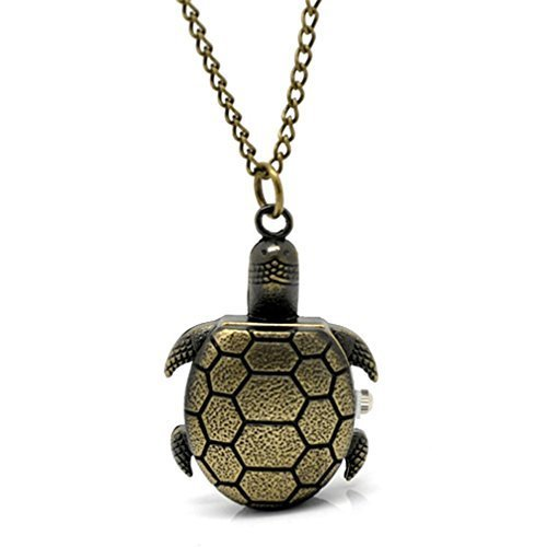 Souarts Antique Bronze Color Turtle Shape Quartz Pocket Watch