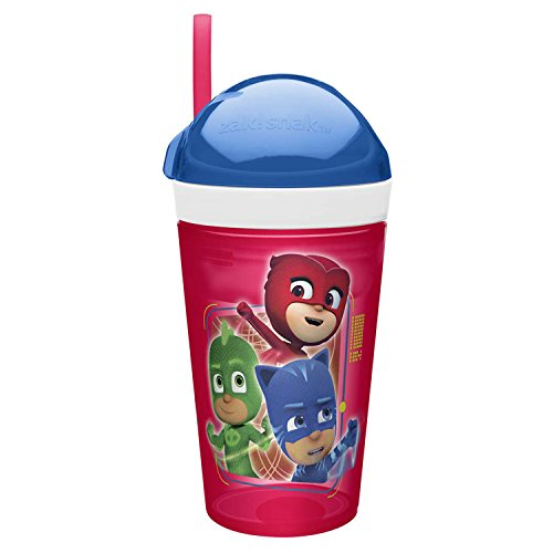 Zak Designs PJ Masks ZakSnak All-In-One Drink Tumbler + Snack Container For Toddlers - Spill-proof 4oz Snack Container Screws Securely Onto 10oz Tumbler With Accessible Straw, PJ Masks