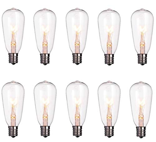 Monkeydg 10-Pack Edison Light Bulbs ST40 Clear Replacement Bulbs-7 watts 120 Volts E17 Candelabra Screw Base for Outdoor Indoor Patio Edison String Lights-Clear