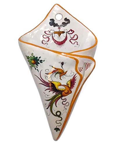 Vintage Hand-Painted Italian Art Pottery Wall Pocket Vase with Stylized Bird Graphics