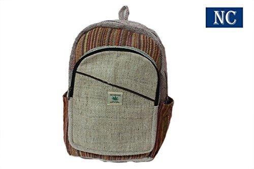Pure Himalayan Natural Hemp Backpack Handmade Nepal with Laptop Sleeve - Fashion Cute Travel School College Shoulder Bag / Bookbags / Daypack (Shoulder Hemp Handmade Bag)