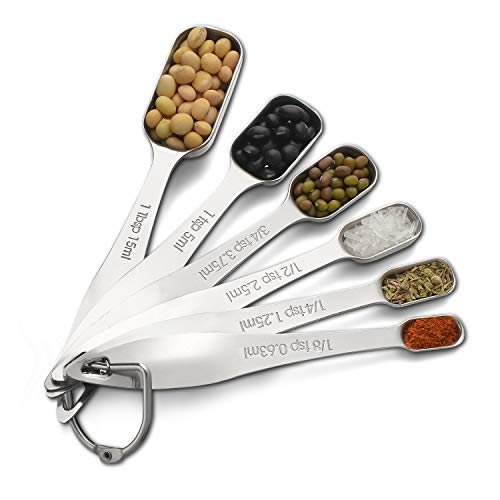 A Trifle Measuring Spoons set stainless steel, Narrow Size to Fit in Spice Jars, 6 Spoons - Spoon Sizes Measuring