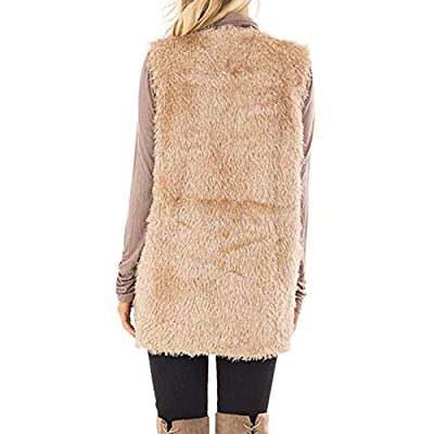 ZEFOTIM Womens Plush Autumn Winter Faux Fur Sleeveless Keep Warm Vest Pocket Coat