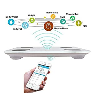 Sporthomer Bluetooth Body Fat Scale, FDA Approved Smart Wireless Digital Bathroom Scale with IOS and Android App Measures Body Weight, Fat, Water, BMI, BMR, Muscle Mass, Bone Mass, Visceral Fat, White