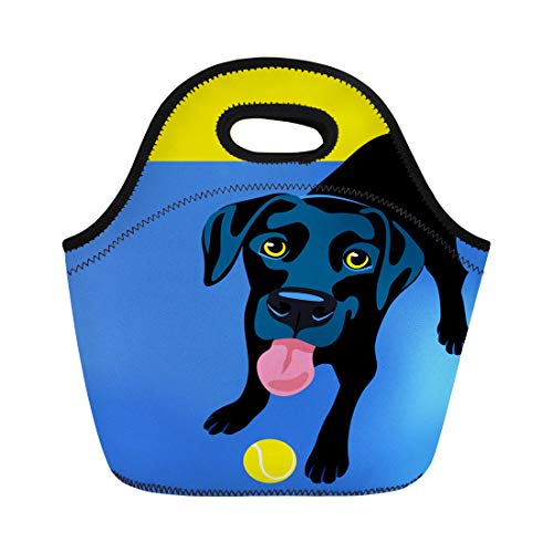 Semtomn Lunch Tote Bag Colorful Dog of Happy Playful Black Labrador Retriever Cartoon Reusable Neoprene Insulated Thermal Outdoor Picnic Lunchbox for Men Women