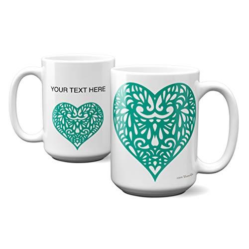 WhatnotGems Lace Cutout Heart Arcadia Green Valentine Personalized Mug (White, 15 ounces)