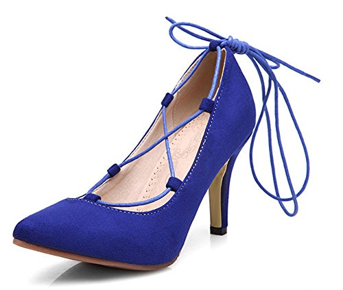 Blue Easemax Top Pointed Womens High Stiletto Low Fashion Pumps Lace Toe Heel Up qxqBWrw17n