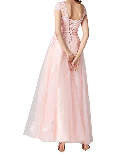 Linie Spitze Lang Abschlussballkleider Flieder Charmant Damen Romantisch Abendkleider Kurzarm Rock A Brautmutterkleider Promkleider PqzwREaxw