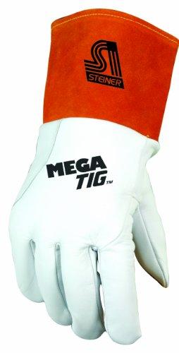Steiner 0230X Mega TIG Gloves, Grain Kidskin Foam Back Unlined Palm, 4-Inch Cuff, Extra Large