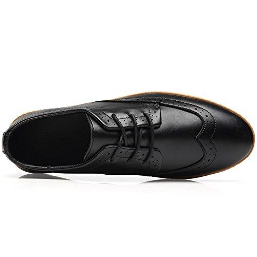 COOLCEPT Herren Mode Sneaker Oxford Schuhe Schnurung Schwarz Black