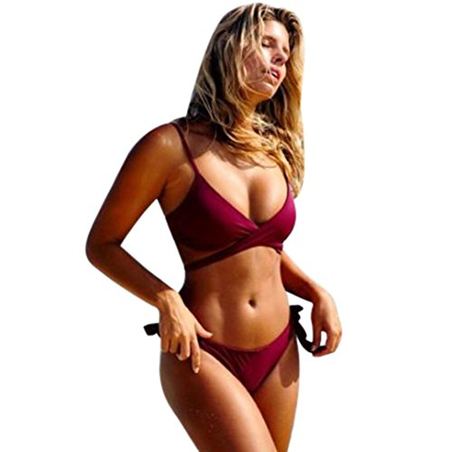 Besde Women Bikini Set Push-up Padded Swim Suit Beach Wear Bathing Suits Bandage Monokini (Red, - Clothing Women's Suits