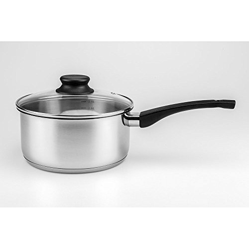 Maxware Classic Stainless Steel Covered Saucepan With Glass Lid (Stainless Steel,1 Quart)