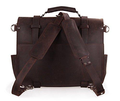 Polare Thick Full Grain Leather Shoulder Briefcase Satchel Messenger Bag For Men(Dark Brown) by Polare (Image #2)
