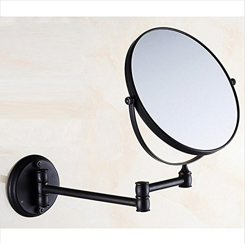 8 Inch Two Sided Swivel Wall Mount Makeup Mirror With 3X Magnification  Oil Rubbed Retractable Folding Bronze Bathroom Beauty Mirror