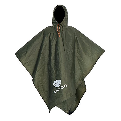 Anyoo Lightweight Waterproof Rain Poncho Reusable Ripstop Breathable Multi-use Raincoat with Hood Packable Tarp Shelter Ground Sheet Ideal for Outdoors Camping Hiking Fishing
