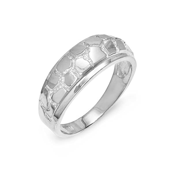 Mens-Solid-10k-White-Gold-Textured-Band-Nugget-Wedding-Ring