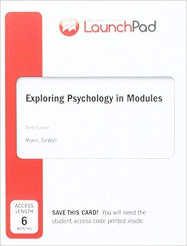 [1464177716] [9781464177712] LaunchPad for Myers's Exploring Psychology in Modules 10th Edition-Printed access -