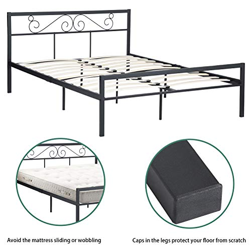 GreenForest Bed Frame Queen Size with Wooden Slats Support Metal Platform with Headboard No Box Spring Needed Black