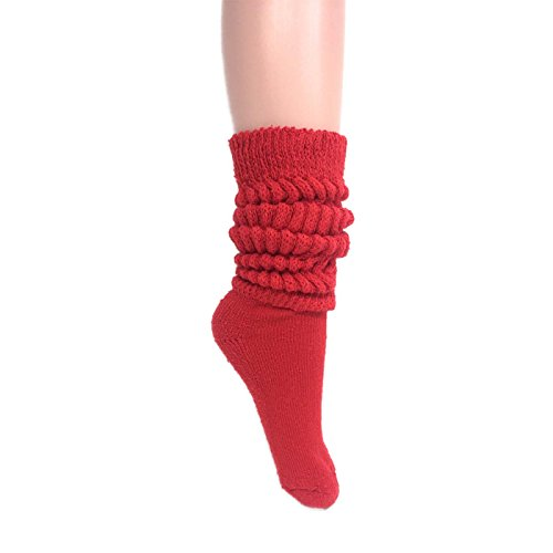 - Women's Extra Long Heavy Slouch Cotton Socks Made in USA Size 9 to 11 (1 Pair - Red)