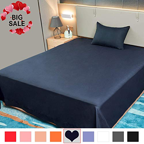 Allo Flat Sheet, Ultra Soft Breathable, Wrinkle Resistant, Hypoallergenic, No Fade, 1500 Thread Count Brushed Microfiber Flat Bed Sheet, 1- Piece (Navy, King)
