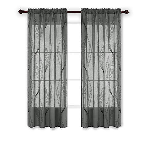 Foil Panel - Deconovo Sheer Curtain Panels Foil Print Waved Vertical Design Rod Pocket Sheer Curtains for Door Windows 52x84 Inch Grey 1 Panel