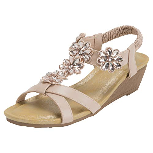 VIVASHOES Womens Diamond Cross Strap Open Toe Wedge Sandals - Nude - US10/EU41 - KL0445
